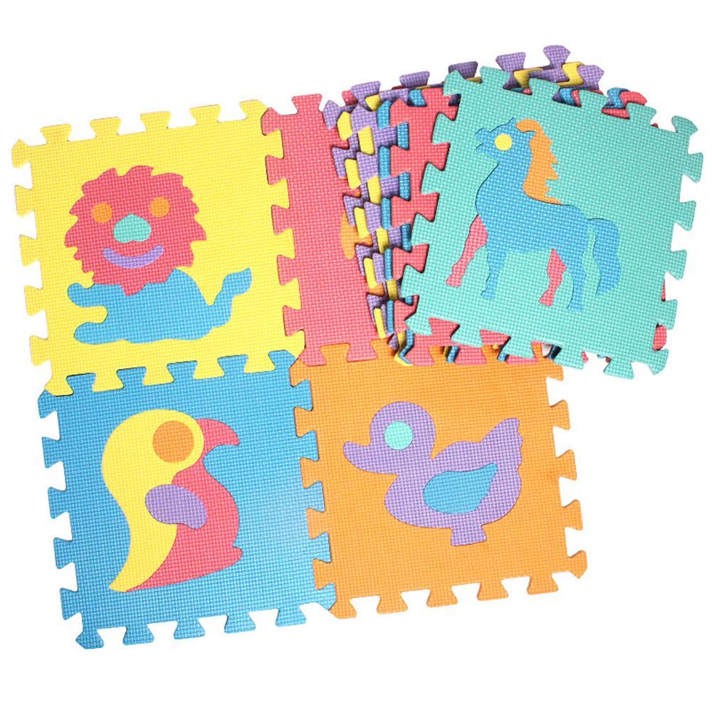 10Pcs Puzzle Kids Play Mat Rug Carpet Split Joint EVA Baby Play Mat Indoor Soft Animal Number Fruit Vehicle Puzzle Mats