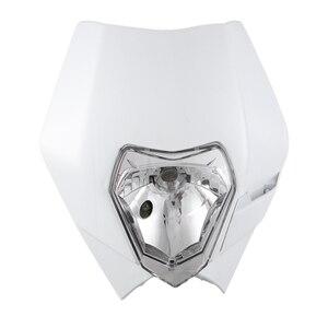 Farol da motocicleta carenagem supermoto cabeça luz lâmpada máscara para yamaha suzuki sx exc xcf sxf drz dr xt wr yzf tw 250 300 400 450