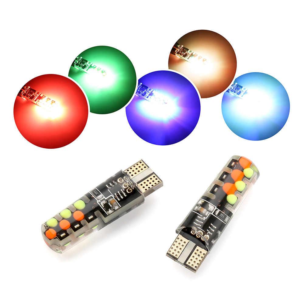 2020 Led W5W T10 RGB Clearance Lampu Baru Universal Mobil RGB COB 12SMDs Warna-warni Multi Mode Bohlam Lampu Mobil dengan Remote Controller