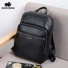 Bison Denim 100% Genuine Leather Mens Business Backpack Large Capacity first layer of Cowhide bag