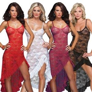 Image 5 - Robe longue, lingerie sexy, en dentelle, grande taille, M,XL,XXXL,XXXXL, ficelle, robe de nuit, bretelles pour la maison, pour lété, S 6XL