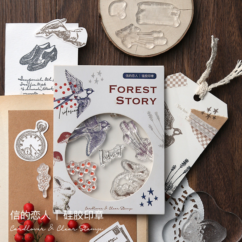 Vintage Creative Plant Animal Planet English Silicone Clear Stamp For Scrapbooking Album DIY Craft Decoration Rubber Stamp