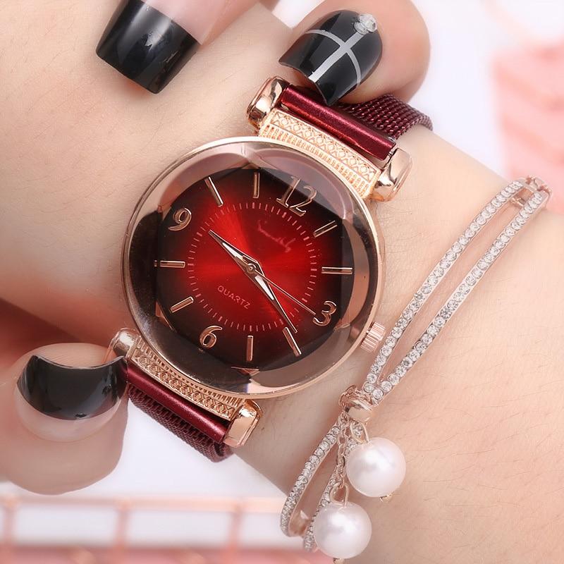 Women Fashion Watches Luxury Quartz Leather Gradient Color Glass Watch Girls Blue Rose Gold Bracelet Watchse
