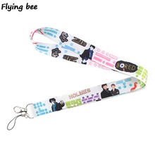 Flyingbee Fashion Sherlock Lanyard Keychain Keys Holder Women Strap Neck Lanyards for Keys ID Card phone lanyard X0366(China)