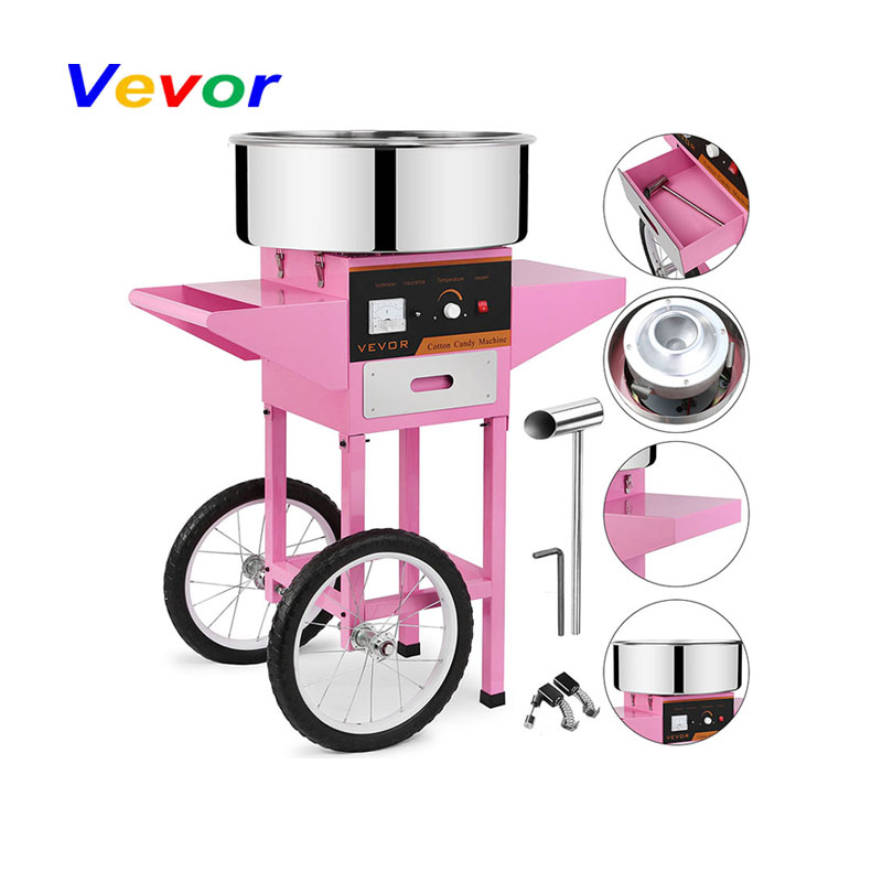 VEVOR Commercial Electric Cotton Candy Machine Floss Maker Pink With Cart Stand