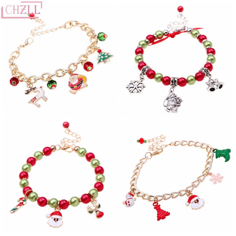 Женский Рождественский браслет CHZLL, украшение в виде милого Санта-Клауса для украшения дома на Рождество