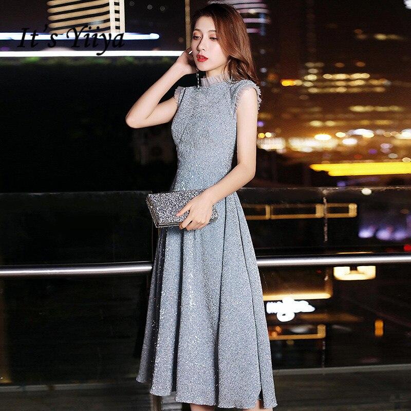 It's Yiiya Evening Dress 2020 For Women Formal Dresses Plus Size O-neck Sleeveless Robe De Soiree Shiny Silver Evening Gown K173
