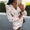 DEAT 2021 весеннее Новое поступление модное облегающее Короткое мини-платье с длинным рукавом и v-образным вырезом с цветочным принтом MI410