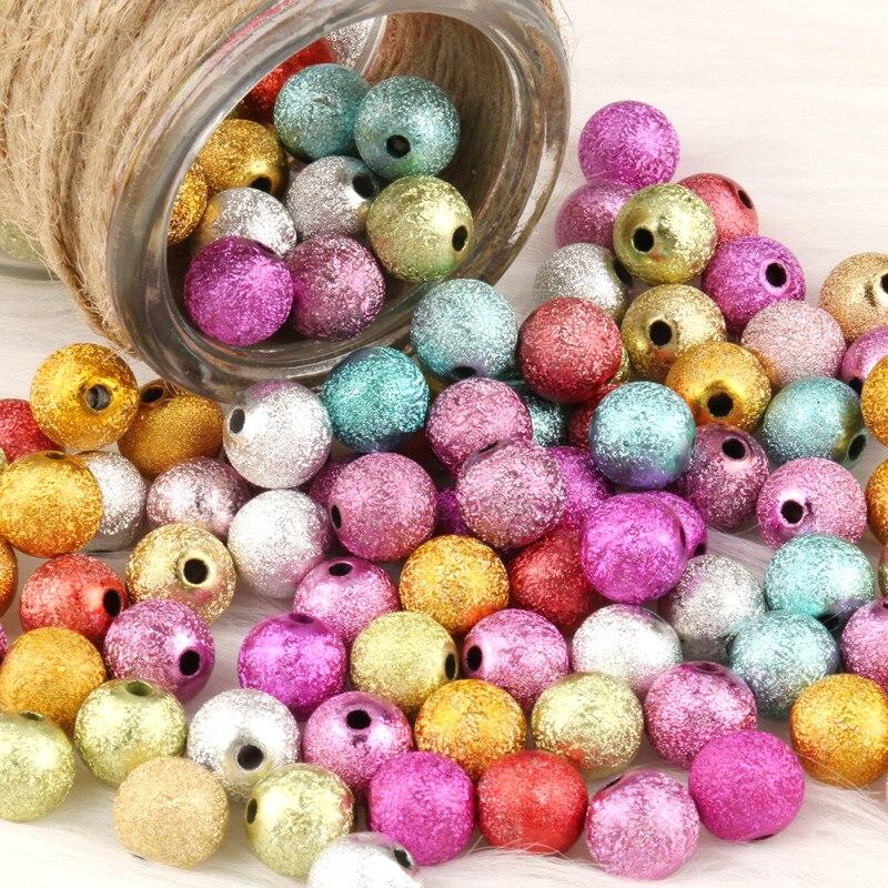 4mm-12mm Gemischte Farbe Runde Matte Acryl Kunststoff Stardust Lose Spacer Perlen für Hand Schmuck Handgemachte diy Armband