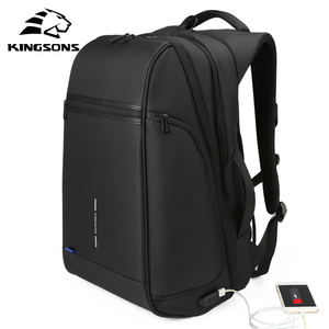 Image 1 - Kingsons Man Backpack Fit 15 17 inch Laptop USB Recharging Multi layer Space Travel Male Bag Anti thief Mochila