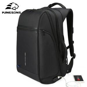 Image 2 - Kingsons plecak męski Fit 15 17 cal laptopa USB ładowania przestrzeń wielowarstwowa podróży torba męska Anti theft Mochila