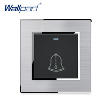 Light Switch Doorbell Reset New Arrival Stainless Steel Panel With Silver Border Wallpad Push Button Wall Switch 16A AC110-250V