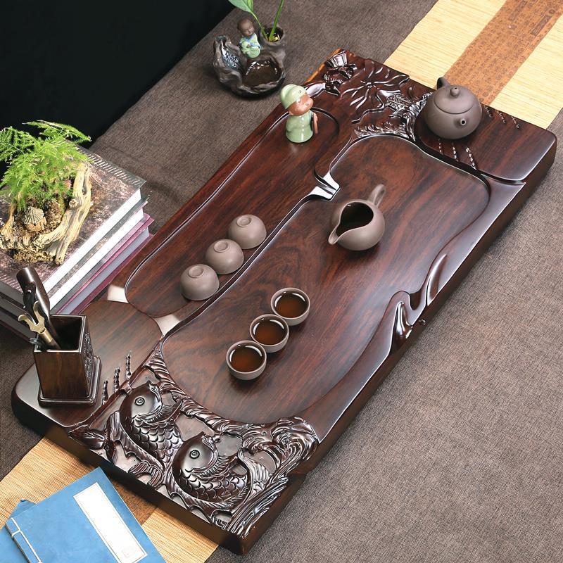 Image 5 - De Service Table Serviertablett Puer Bandeja High Accessories Vassoio Da Portata Kung Fu Gongfu Holder Chinese Tea TrayTea Trays   -