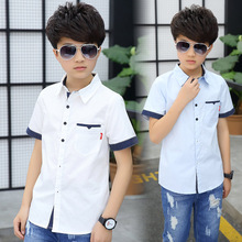 School Boys Shirts Short Sleeve Blouses For Boys Children Clothing Cotton Turn-Down Collar Kids Tops 5 7 9 11 13 15 Years Old