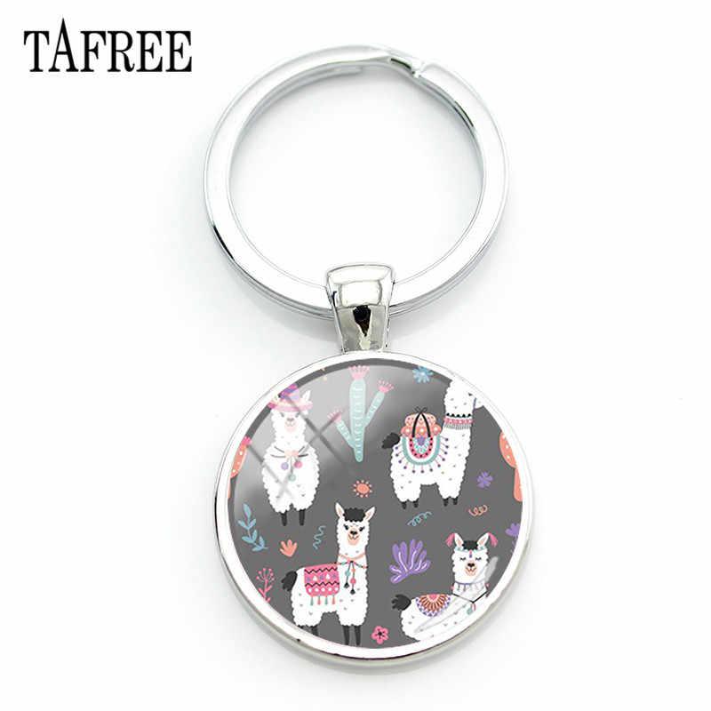 TAFREE biały Alpaca lamy breloki breloczki szkło zwierząt wzór urok breloki torebki prezenty samochodowe biżuteria YT10
