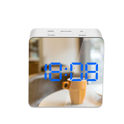 LED Mirror Alarm Clock Digital Snooze Table Clock Wake Up Light Electronic Large Time Temperature Display Home Decoration Clock 9