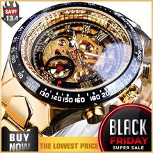 Winner Mechanical Sport Design Bezel Golden Watch Mens Watches Top Brand Luxury Montre Homme Clock Men