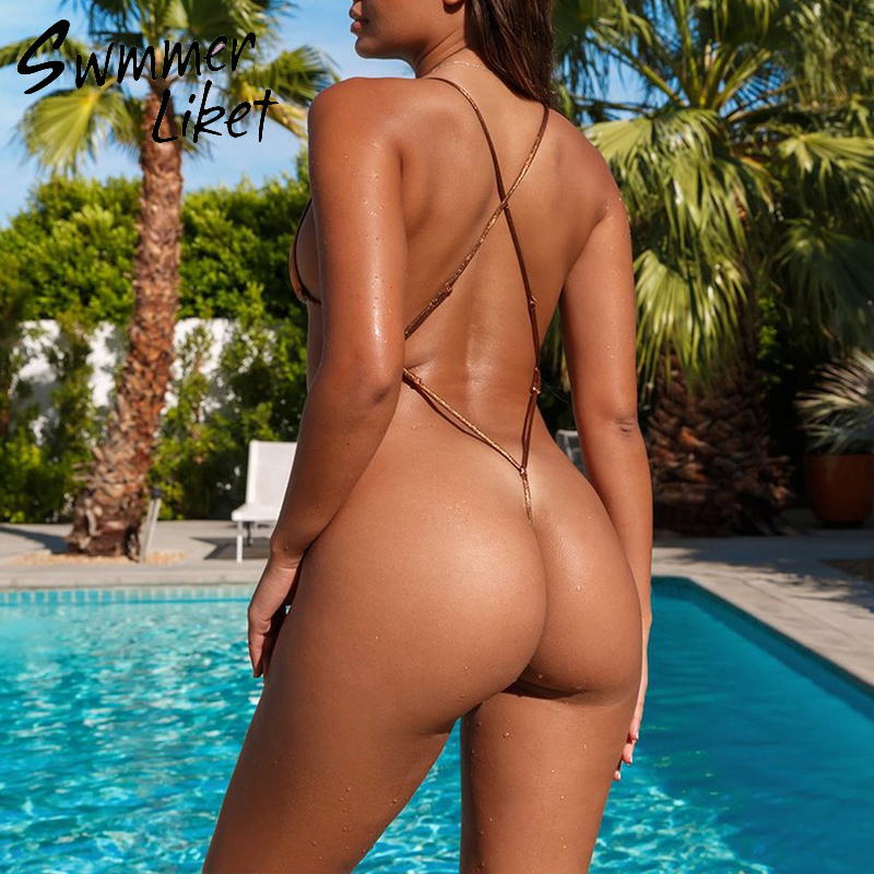 Extreme Bodysuits One-piece Swimsuit Female String Bikinis 2020 Mujer Triangle Swimwear Women High Cut Bathing Suit Micro Bikini