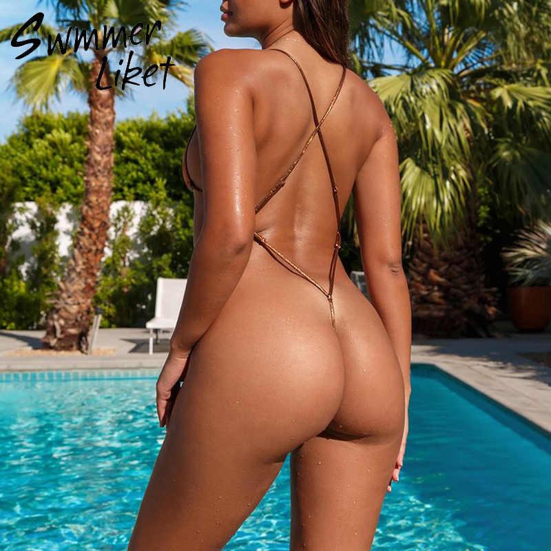 Trajes de baño extremos de una sola pieza bikinis de cadena femeninos 2019 traje de baño de triángulo de Mujer traje de baño de corte alto Micro bikini