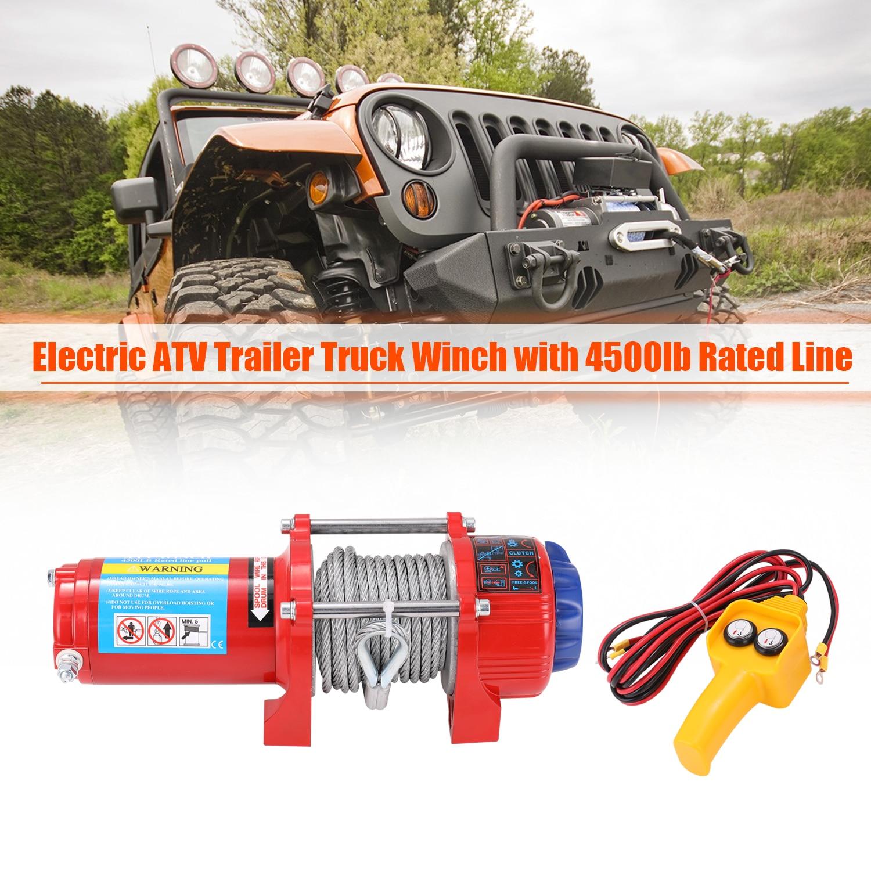 Wciągarka elektryczna 12v odzyskiwanie samochodu elektryczna ATV ciężarówka z przyczepą wciągarka z 4500lb znamionowa linia Pull 10m linka stalowa ocynkowana