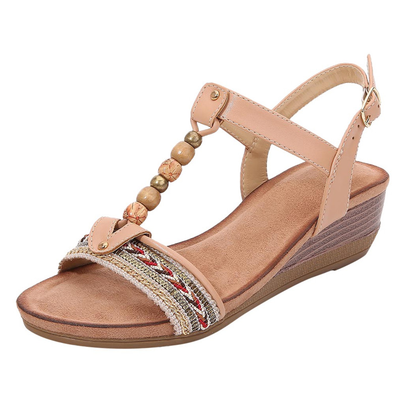 MVVJKE New Women Wedge Sandals Beach Open Toe Roman Sandals Vintage Beaded Bohemian Sandals Shoes Solid Rubber Insoles Summer