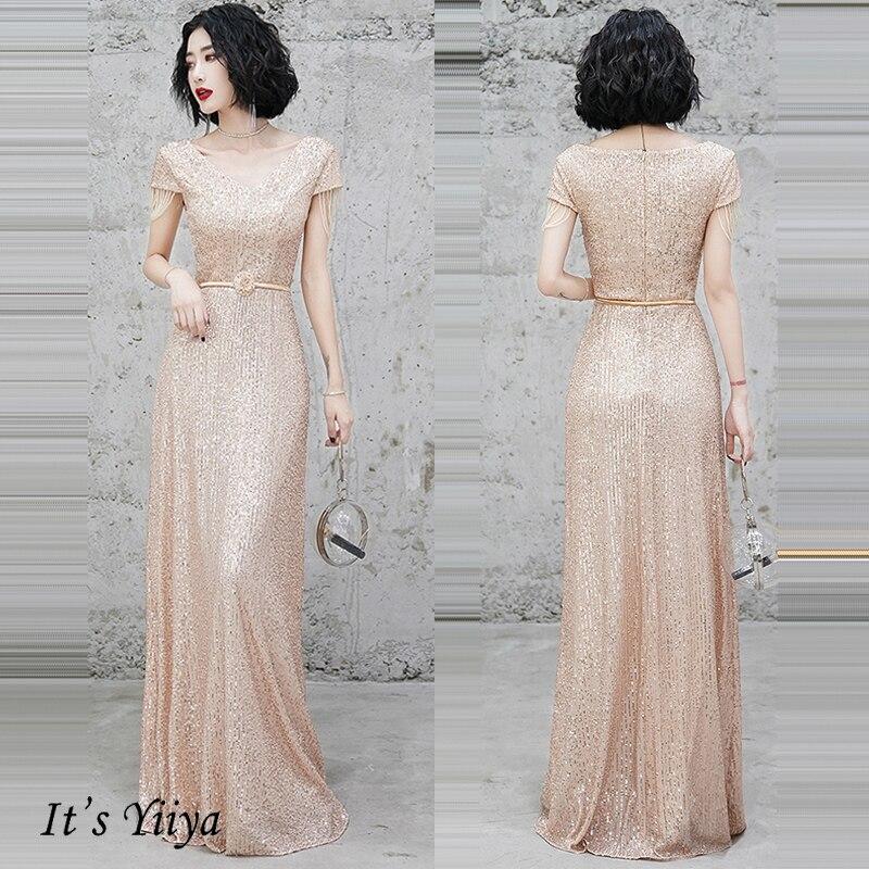 It's Yiiya Evening Dress Sequins Mermaid Robe De Soiree K014 Elegant V-neck Formal Gowns For Women Long Evening Dresses
