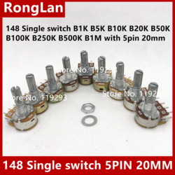 Humidificador de potenciómetro de resistencia ajustable, 148 interruptor individual B1K B5K B10K B20K B50K B100K B250K B500K B1M con 5 pines 20mm-50p