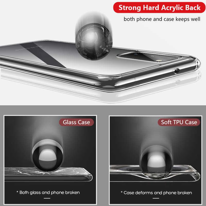สำหรับ Samsung Galaxy S20 ultra S10E S8 S9 PLUS หมายเหตุ 10 9 8 S7 EDGE ฝาครอบ funda CLEAR โปร่งใส Hard PC ETUI