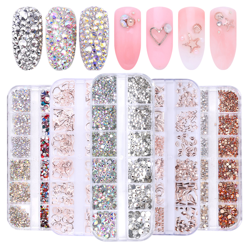1 Box Hollow Studs Nail Art Rhinestone Gold Silver Clear Flat Bottom Mixed Shape DIY Nail Art 3D Decoration In Wheel