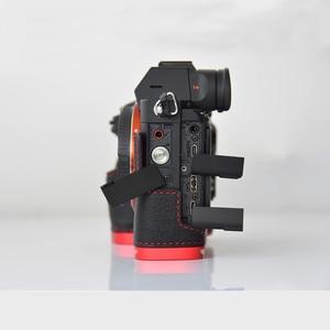 Image 3 - עור אמיתי מקרה מצלמה תיק מעטפת כיסוי עבור Sony A7R MarkIII A7M3 A7RIII A9 יד גריפ מחזיק אלומיניום שחרור מהיר L פלאט
