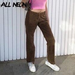 ALLNeon Indie Aesthetics Slim Brown Corduroy Pants Y2K Vintage Low Rise Straight Trousers Harajuku 90s Streetwear Fall Bottoms