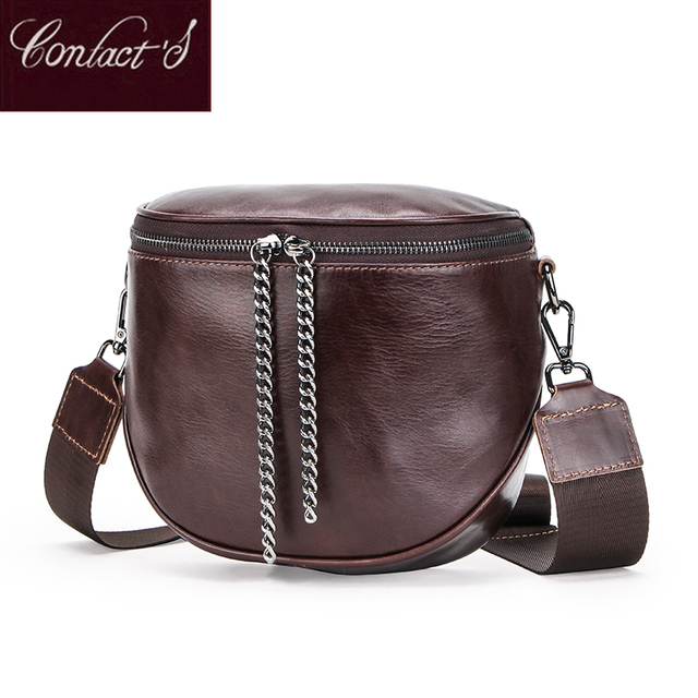 المرأة موضة جلد طبيعي حقيبة ساع سيدة حقيبة الكتف دلو حقائب Crossbody حمل حقيبة يد الإناث نصف دائرة السرج