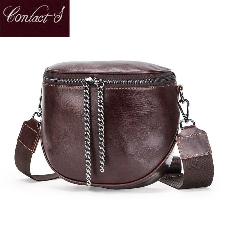 Women's Fashion Genuine Leather Messenger Bags Lady Shouder Bag Bucket Bags Crossbody Tote Bag Female Handbag Semicircle Saddle