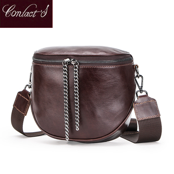Womens Fashion Genuine Leather Messenger Bags Lady Shouder Bag Bucket Crossbody Tote Female Handbag Semicircle Saddle