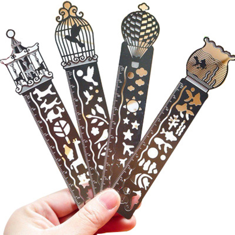 4Pcs/lot Sliver Metallic Ruler Bookmark Creative Multifunctional Drawing Model Ruler For Bullet Journal Cute Stationery Supplies