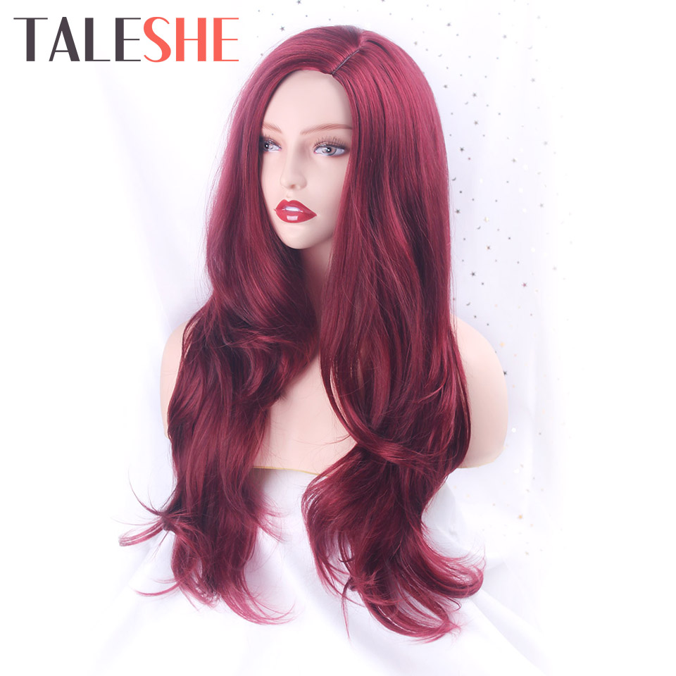 TALESHE Long Red Wavy Wigs Synthetic Wigs Natural Side Part Heat Resistant Fiber Hair For Black Women Pink Cosplay
