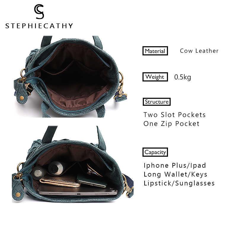 SC Hollow Out tasarım hakiki deri çanta kadın Vintage onay deri Patchwork üst kolu Tote kadın Crossbody omuzdan askili çanta