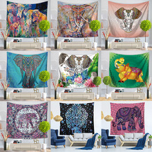 Painted Elephant Tapestry Wall Hanging Beach Towel Sitting Blanket Bohemia Home Bedroom Decorating Throw indian elephant print chiffon round beach throw