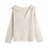 Xikom 2021 mujeres de moda con cordón cuello V blanco de talla grande de punto con capucha manga larga Mujer suéteres Chic Tops