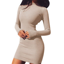 2019 Sexy Solid Vrouwen Jurk Night Club Bodycon Coltrui Super Warm Elegante Dames Jurk Strakke Billen Mini Jurk Maat S-XL(China)