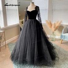 Simples gótico preto vestidos de casamento 2021 mangas compridas boho a linha vestido de noiva do vintage querida vestidos de casamento vestido de novia