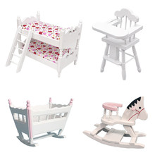 DIY Dollhouse Set For Children Toys 1/12 Scale Miniature Baby Chair+Baby Cradle Model+Children Bedroom Bunk Bed+Rocking Chair(China)