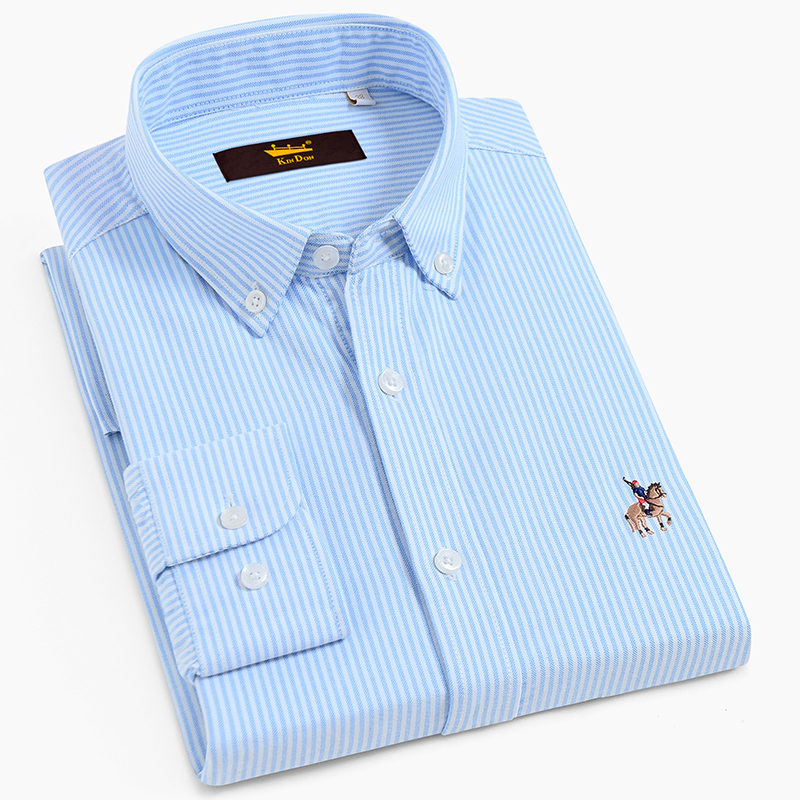 Men's 100% Cotton Oxford Striped Shirt With Embroidered Logo Long Sleeve Standard-fit Comfortable Casual Button-collar Shirts