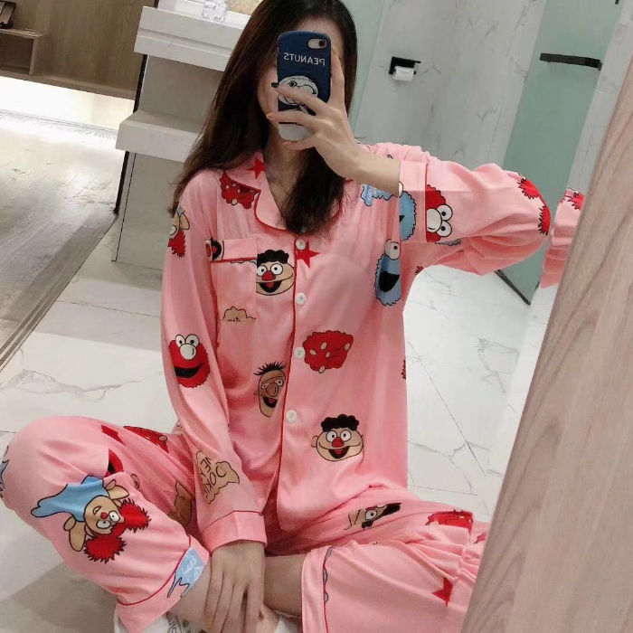 New 2020 Spring Girls Pijamas Mujer Comfortable Women Pajamas Set Long Sleeve 24 Style Girl Home Wear Serve Lovely Sleepwear Set