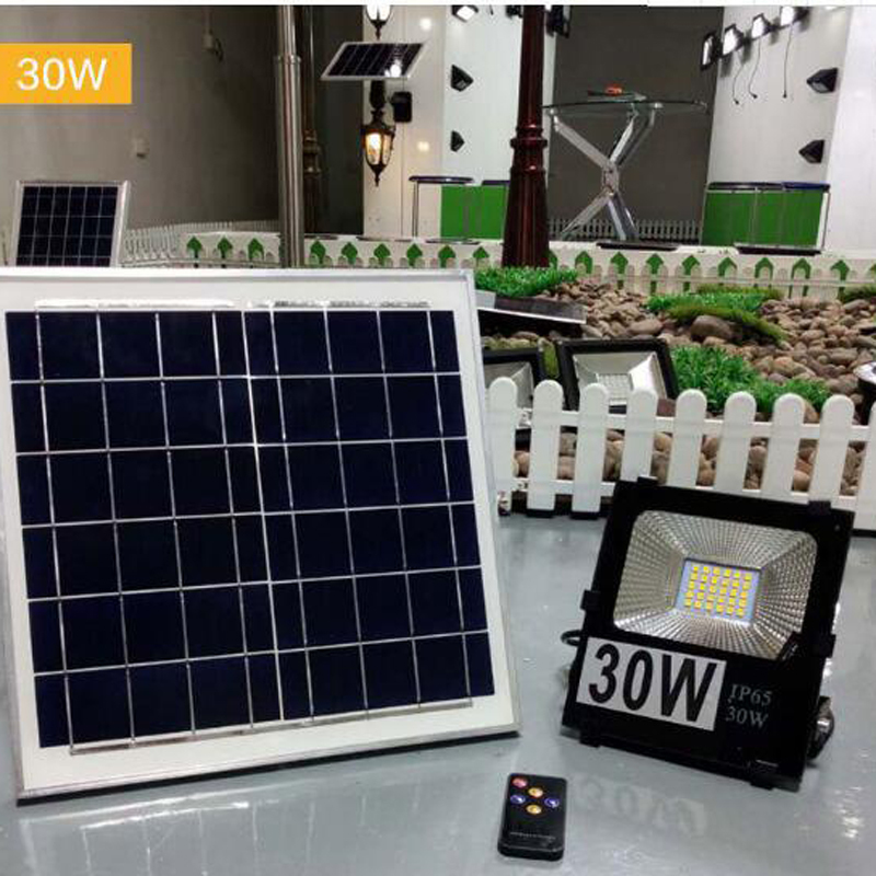 2PCS 10W 20W 30W 50W 100W Solar LED Floodlight Cool White Remote Control Garden Street Flood Light Lamp Outdoor Wall Lighting