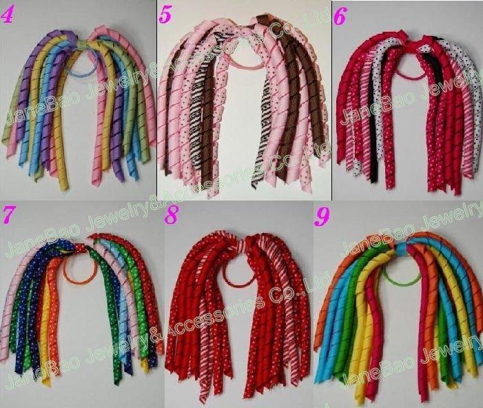 20 разных цветов, коркер, конский хвост, держатели для смешанных 100 шт, коркер, конский хвост, цветные банты