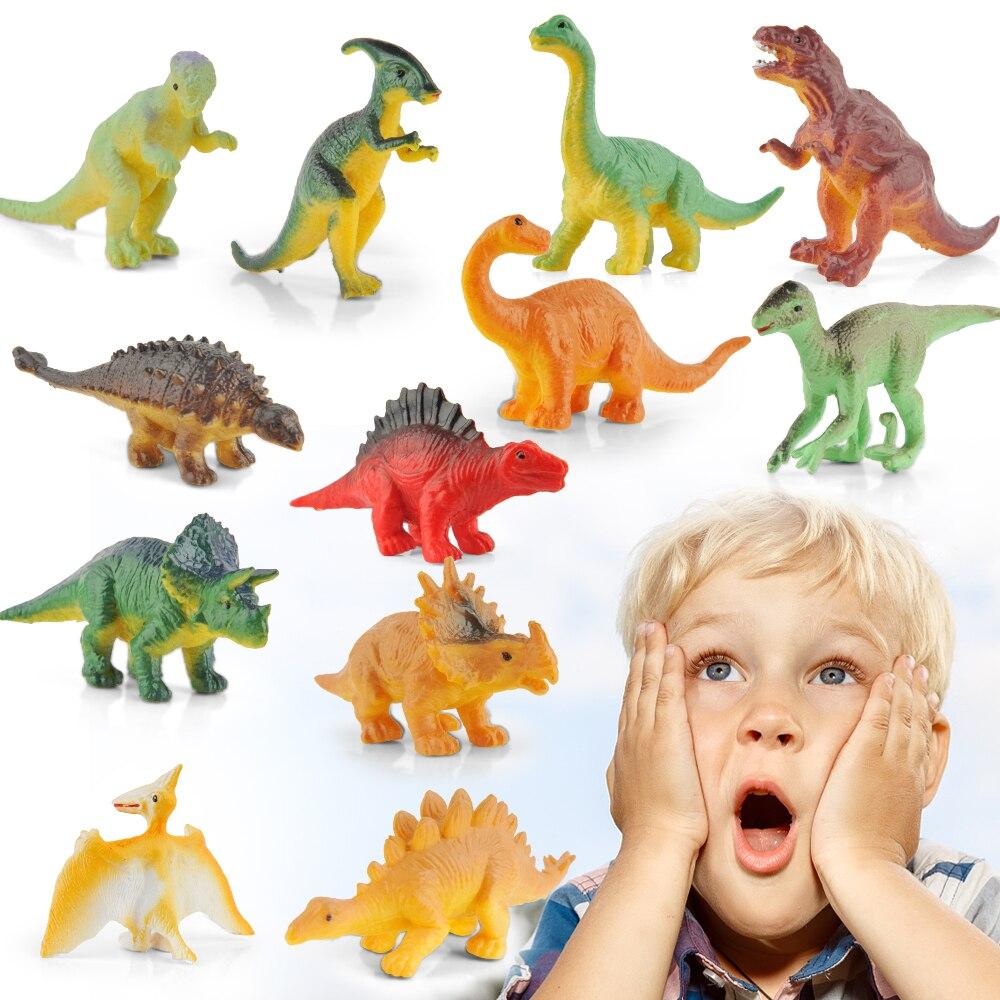 12PCS Dinosaur Toy Jurassic World Noctilucent Dinosaur Simulated Model Toys Educational Toys For Kids Birthday And Xmas Gift