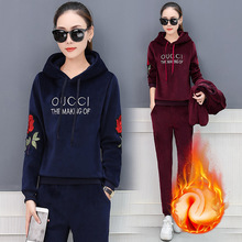 3pcs Winter Women Sport Suit Thick Velour Fleece Embroid Coat+Hoodie+Pant Casual Jogger Running Outfit Set Sportswear Tracksuit