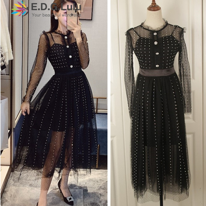 EDGLuLu black polka dot <font><b>dress</b></font> women tulle o-neck long sleeve see through <font><b>dress</b></font> midi <font><b>dress</b></font> vintage sexy club elegant fairy <font><b>dress</b></font> image