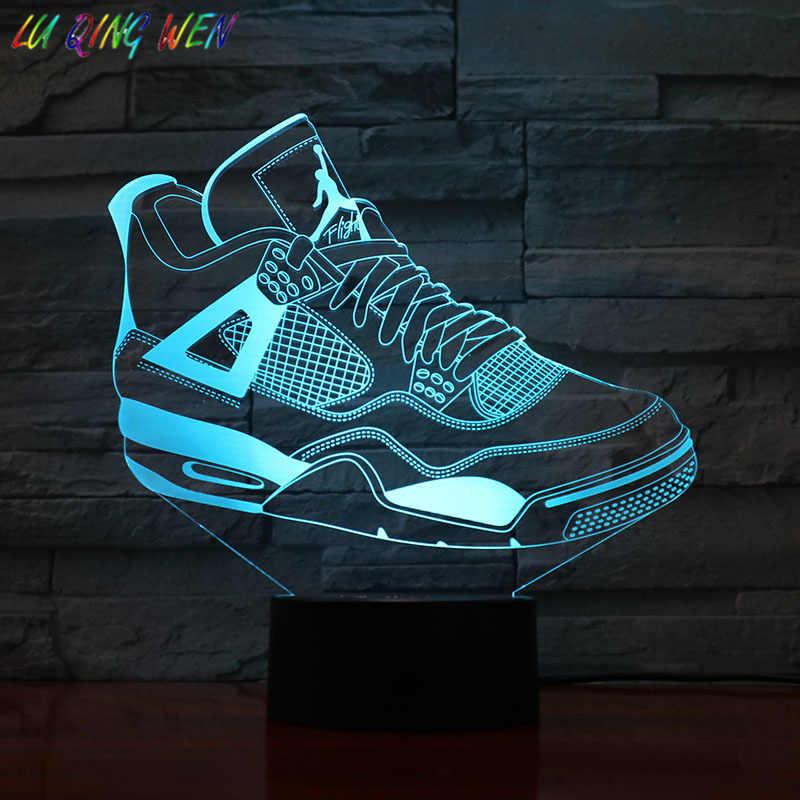 أحذية حذاء رياضة الأردن 4 AJ ثلاثية الأبعاد ليلة ضوء كرة السلة ميكالي الأردن ديكور غرفة نوم مصباح لجهاز الاستشعار طفل صبي الحاضر الجدول مصباح السرير